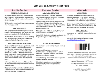 Anxiety Relief Tools Printable www.ManhattanMFT.com