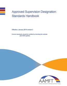 AAMFT Approved Supervisor Designation Standards and Responsibilities Handbook